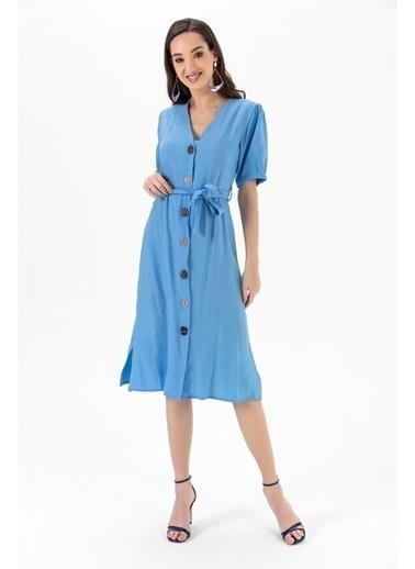 Tiffany&Tomato Önü Düğmeli Yandan Yırtmaçlı Karpuz Kollu Kuşaklı Uzun Elbise Mavi